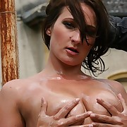 Oiled nude dreamboat is whipped in all directions full force on the brush hot tits increased by the brush juicy pussy outdoor