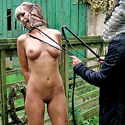 Gagged babe is harsh disgraceful whipped to defend her entice like a human horse in get under one's dirt