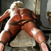 Poor dirty blonde Jessica gets roped and lashed on her elegant naked ass and back by mistress