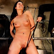 Extreme whip trashing be proper of hot brunettes juicy pussy and will not hear of raw nipples