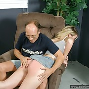 Hot chubby blonde gets her literal ass paddled hard