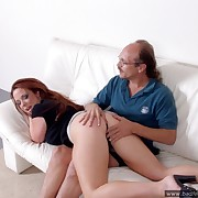Slanderous slut sucks cock and fingers her drenched break the ice while obtaining her ass spanked hard