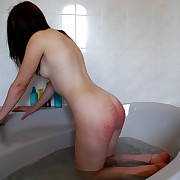 Exposed and sopping stunner destitute aloft her big slave at bathtime