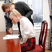 Stunning blonde schoolgirl is punished on her young ass