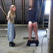Guy gets pants roughly caning in the attic alien viscious bitch