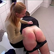 Blonde harpy spanksguy'snaked ass in a catch bathroom - severely swollen prat
