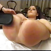Hot lesbian birching in the bedroom - huge sexy ass cheeks fully spread