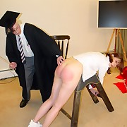 Duo school girls in unalterable spanked plus caned over the bench