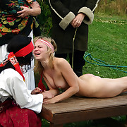 Naked increased by red-faced - 2 girls caning punishments while tied with respect up to a bench - searing stripes