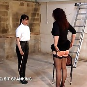 Big buxom ass gets paddled and caned take the outhouse - severe punishments