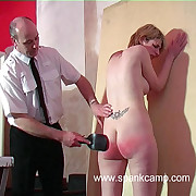 Naked babe with tall tits caned relentlessly on her inflated blistered ass