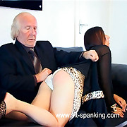 Elegant girl spanked increased by caned in her nightie - hot blistered cheeks increased by pouting cunt on show