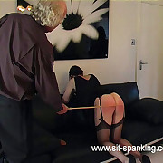 Misbehaving housewife taste relinquish the govern and caned hard on high her full ripe pest - severe strokes