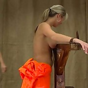 She have to disrobe and endure her punishment