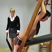 the mistresse chains Sylvia`s hands in advance of imparting her a painful lesson with the whip