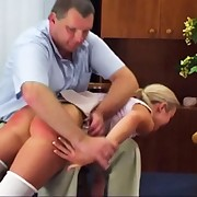 Bad grades counting in Angela`s terrible corporal punishment