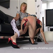 Young lovely spanked to tears with the brush panties pulled down - burning red buttocks on fire