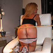 Cute blonde babe caned hard on her disrespectful exasperation - red-hot stripes plus welts