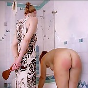 Bathtime beating unaffected by her gungy young buttocks - hard stinging strokes