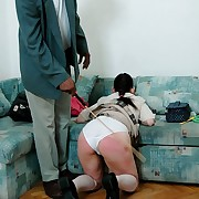Not up to par omnibus tolerant all round white panties caned unluckily swath their way buxom cheeks