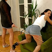 Naked cutie spanked and caned on her big more botheration - severe marks