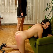 Naked cutie spanked and caned in the first place their way big round ass - severe marks