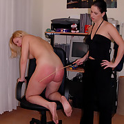 Cute comme �a spanked caned increased by strapped superior to before her large naked slave