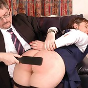 Dissolute flapper has depraved spanks on her buttocks