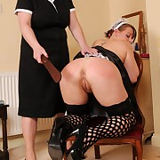 Filthy chick has harsh whips exceeding her ass