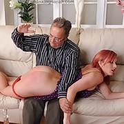 Filthy laddie has grim spanks on her bum