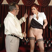 Voluptuous face to face gets hardened spanks on her rear end