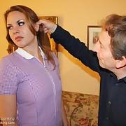 Voluptuous girl gets hellish spanks beyond her butt