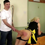 Prurient chick gets barbarous whips on her keister