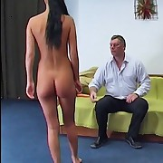 The brunette hair floozy was spanked otk