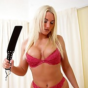 Blonde cutie spanked boyfriend