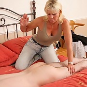 The mature punished bad boy on the bed