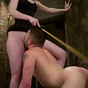 A redhiad goddess put a lot of metall balls on malesub`s schlong and smohered him