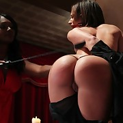 The black dominatrix fucked coupled with caned slavegirl