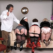 Daddy spanked three matures standing on laps