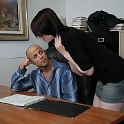 Bad girl spanked wits her big-shot in his office