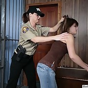 Sissified patrolman spanks a girl for getting arrested