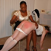 Sexy ebony slapping will not hear of white girlfriend with a palm
