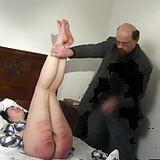 Teen girl spanked on the bed