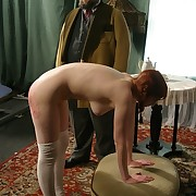 Bad redhead female house servant is disagree with punishment