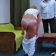 European hottie in white acquires bent over a table and caned brutally