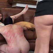 Badly whipped has to lick his Mistress�s cunt