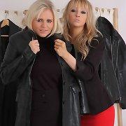 Horny shop assistant takes advantage of a leather coat shopper