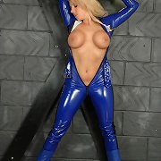 Immodest Dannii gets so turned on when that babe slides into her PVC catsuit