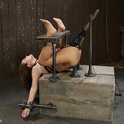 Huge titted slaveslut was bound in hard metal and double shafted