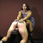 Older Femdom whips and scratches feeble slave
